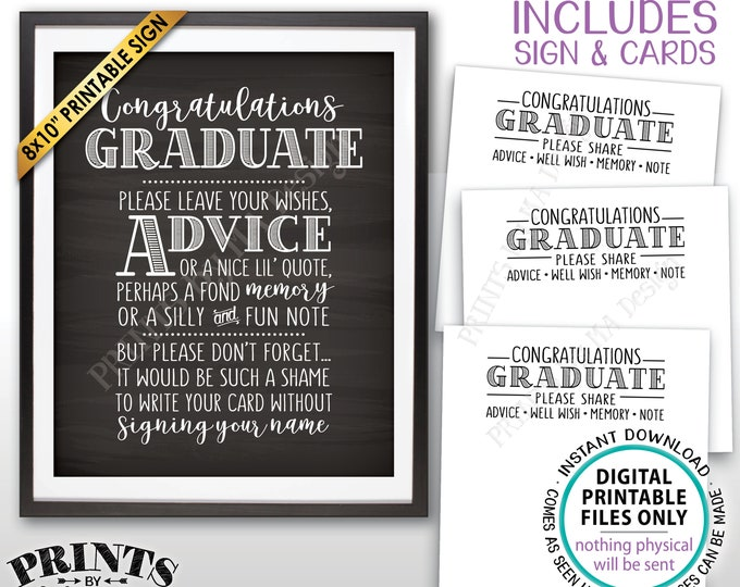 "Graduation Advice, Congratulations Graduate Wishes, Memory, PRINTABLE Grad Party 8x10"" Chalkboard Style Sign & 8.5x11"" Sheet of Cards <ID>"