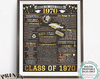 "Back in 1970 Poster Board, Flashback to 1970 High School Reunion, Graduating Class of 1970 Reunion Decoration, PRINTABLE 16x20"" Sign <ID>"