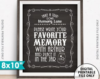 """Share a Memory Sign, Take a Trip Down Memory Lane and Share a Favorite Memory Whiskey Birthday, Retirement, PRINTABLE Chalkboard Style 8x10"""""""