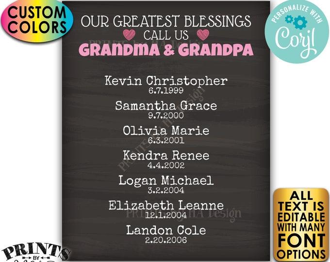 Our Greatest Blessings Grandparent Gift, Grandma Grandpa, Grandkids, PRINTABLE Chalkboard Style Grandchildren Sign <Edit Yourself w/Corjl>