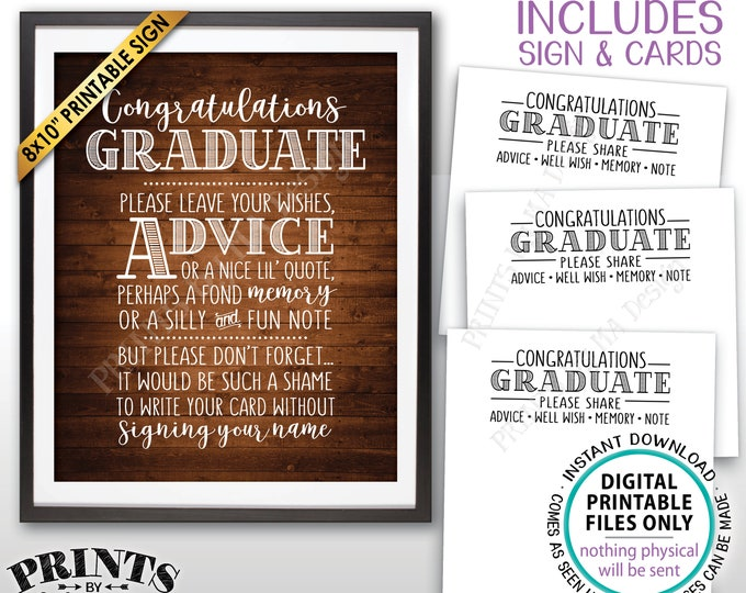 """Graduation Advice, Congratulations Graduate Wishes, Memory, PRINTABLE Grad Party 8x10"""" Rustic Wood Style Sign & 8.5x11"""" Sheet of Cards <ID>"""