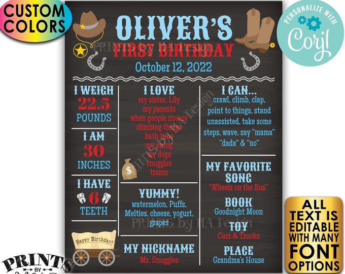 Cowboy First Birthday Board, Personalized Milestones Poster, Custom PRINTABLE Chalkboard Style 1st B-day Stats Sign <Edit Yourself w/Corjl>