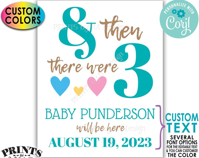 "Custom Pregnancy Announcement & Then There Were Three Hearts, PRINTABLE 8x10/16x20"" Sign, Valentine's Day <Edit Yourself with Corjl>"