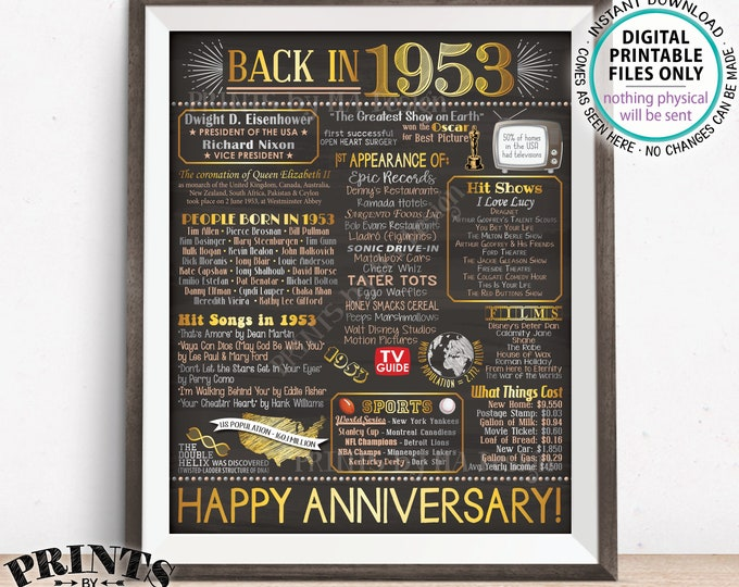 "1953 Anniversary Poster, Back in 1953 Anniversary Gift, Flashback to 1953 Party Decoration, PRINTABLE 16x20"" Sign <ID>"