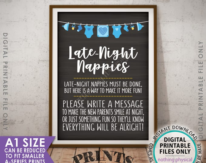 Late Night Nappy Sign, Baby Shower Game Late-Night Nappies Sign the Nappy Thoughts, It's a Boy Blue, Chalkboard Style PRINTABLE A1 Sign <ID>