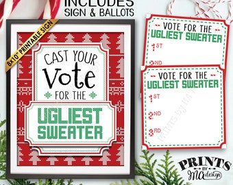 Ugly Christmas Sweater Party Voting Sign and Ballots, Vote for the Ugliest Sweater, Tacky Sweater Party, PRINTABLE Sign and Ballots <ID>
