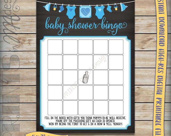 "Baby Bingo Cards, Baby Shower Game, Shower Bingo Activity, Blue Clothesline, Boy, Chalkboard 5x7"" Instant Download Digital Printable File"