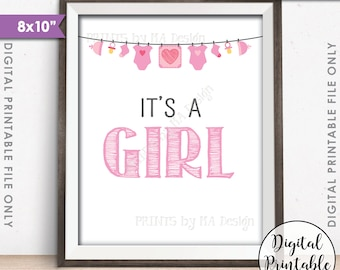 """It's a GIRL Sign, It's a Girl Gender Reveal Sign, It's a Girl Announcement, Pink Baby Girl Sign, Pink 8x10"""" Printable Instant Download"""