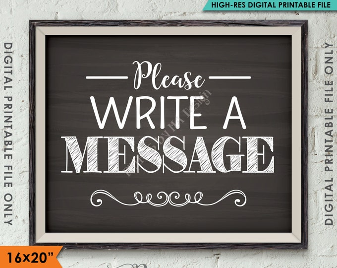 """Please Write a Message Sign, Leave a Message, Share a Thought Party Sign, Memory, 8x10/16x20"""" Chalkboard Style Printable Instant Download"""
