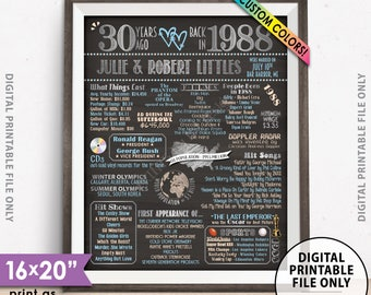 "30th Anniversary Gift, Flashback to 1988 Flashback 30 Years Married in 1988 Sign, Chalkboard Style PRINTABLE 8x10/16x20"" Anniversary Poster"