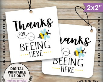 """Thanks for BEEing Here Cards or Tags, Bee Birthday Party, Bee Baby Shower, Bumble Bee Party, 2x2"""" tags on 8.5x11"""" Printable Instant Download"""