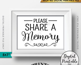 "Share a Memory Sign, Share Memories, Please Write a Memory Card, Graduation, Birthday Party, PRINTABLE 5x7"" Instant Download Digital File"