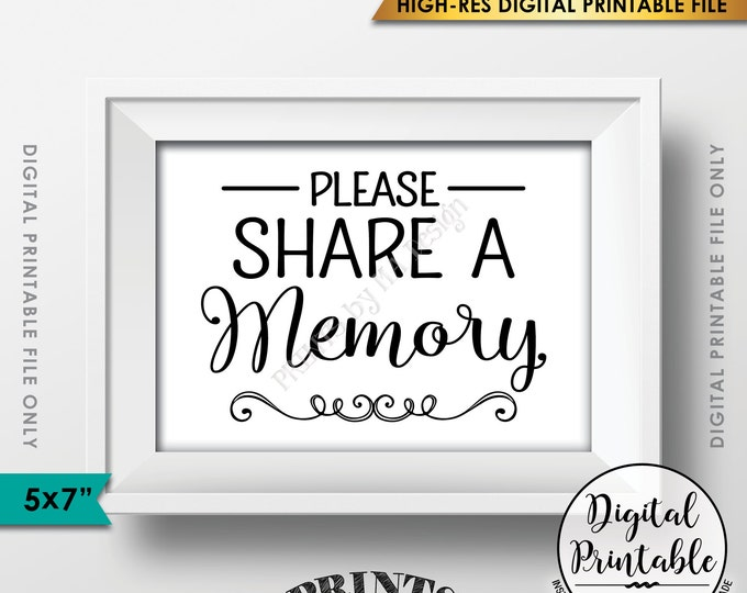 """Share a Memory Sign, Share Memories, Please Write a Memory Card, Graduation, Birthday Party, PRINTABLE 5x7"""" Instant Download Digital File"""