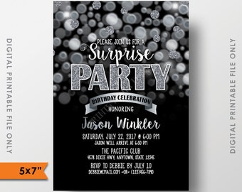 "Surprise Birthday Party Invitation Black and Silver Bokeh, Silver Glitter, Surprise Party, 5x7"" Digital Printable file"