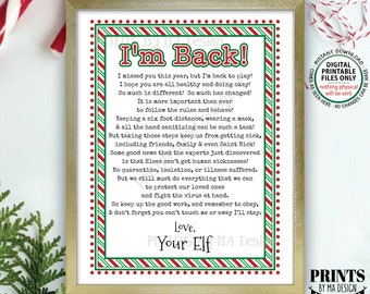 "Elf Welcome Back Letter, Quarantine Isolation, Keep Santa Healthy during Covid Pandemic, PRINTABLE 8.5x11"" Christmas Elf Sign <ID>"
