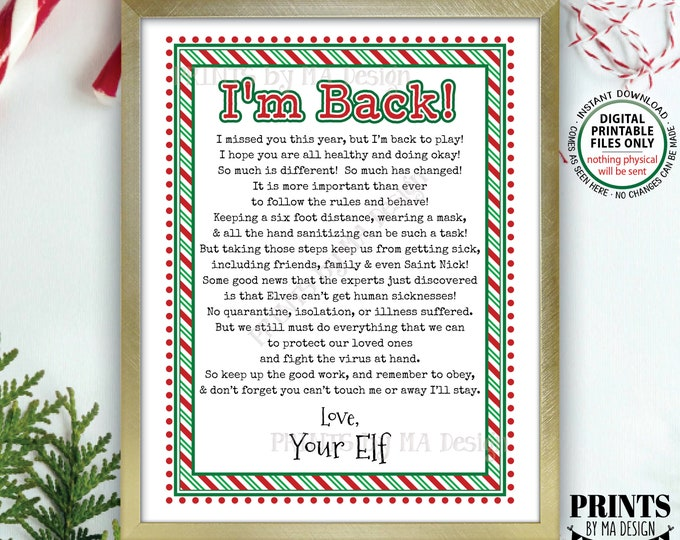 """Elf Welcome Back Letter, Quarantine Isolation, Keep Santa Healthy during Covid Pandemic, PRINTABLE 8.5x11"""" Christmas Elf Sign <ID>"""