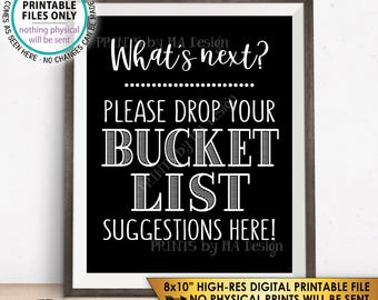 "Bucket List Suggestions Sign, Retirement, Graduation, Bon Voyage, Birthday, Wedding Sign, Black & White PRINTABLE 8x10"" Instant Download"