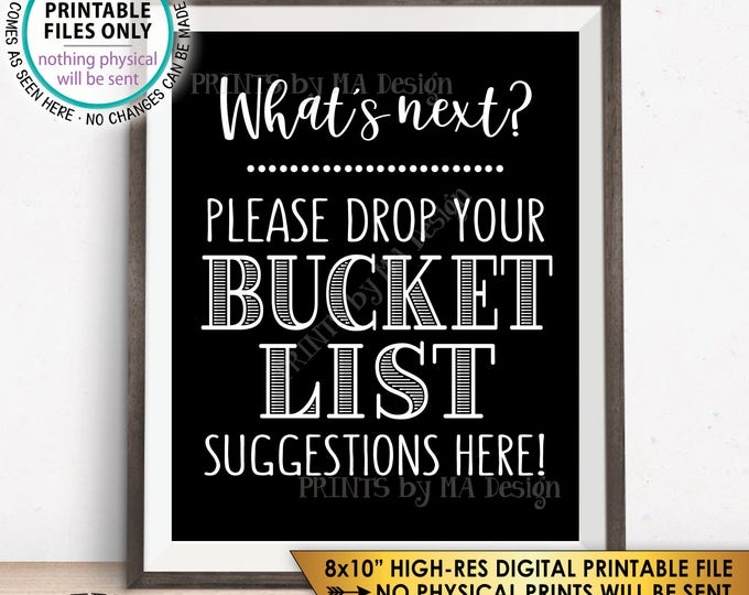 "Bucket List Suggestions Sign, Retirement, Graduation, Bon Voyage, Birthday, Wedding Sign, Black & White PRINTABLE 8x10"" Instant Download"