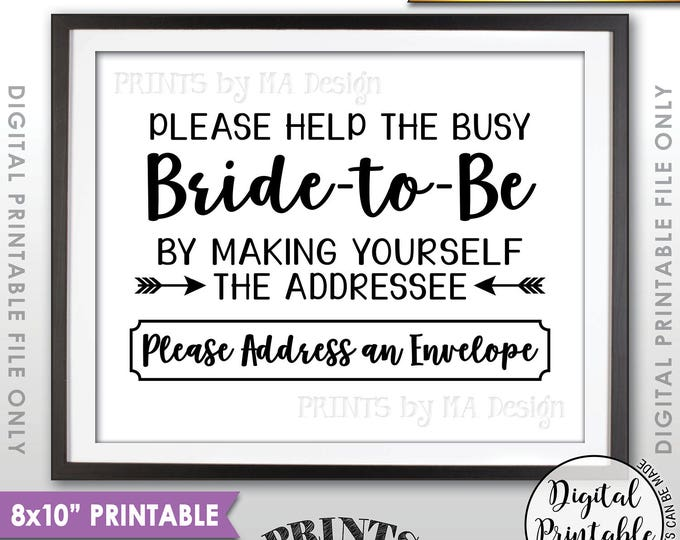 "Address Envelope Bridal Shower Sign Addressee Help the Bride by Addressing an Envelope, Black & White Instant Download 8x10"" Printable Sign"