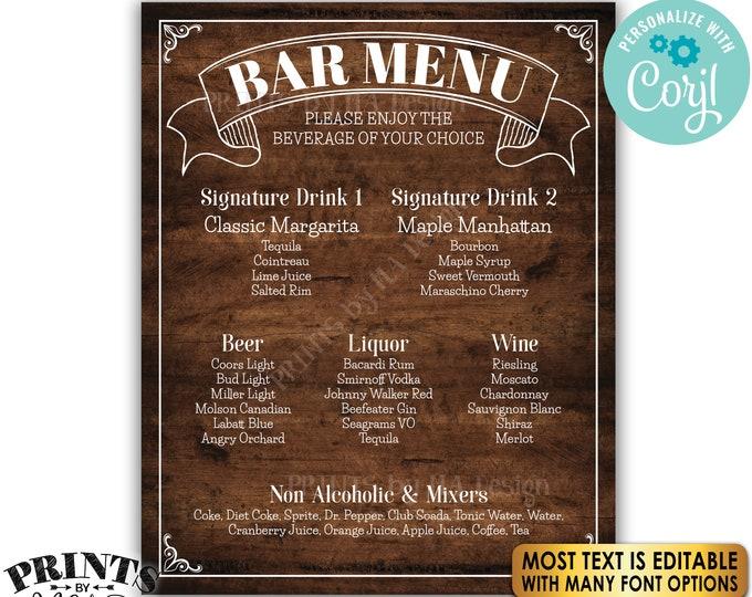 "Bar Menu Sign, Custom PRINTABLE 8x10/16x20"" Rustic Wood Style Drinks Sign, Birthday Party, Wedding Reception <Edit Yourself with Corjl>"