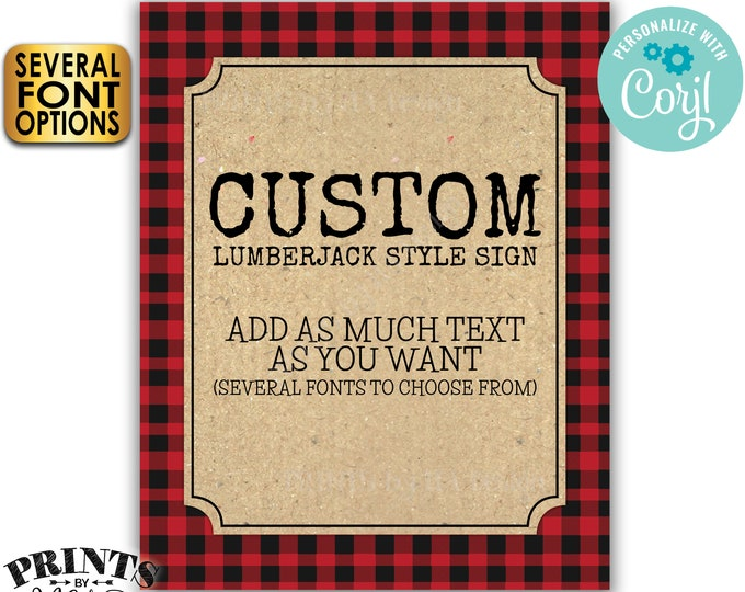 """Custom Lumberjack Sign, Choose Your Text, Red Checker Buffalo Plaid, One PRINTABLE 8x10/16x20"""" Portrait Sign <Edit Yourself with Corjl>"""
