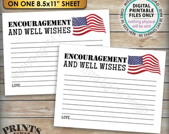 """Military Encouragement and Well Wishes Card, Boot Camp Send Off, American Flag, Four 4.25x5.5"""" Cards on a PRINTABLE 8.5x11"""" Sheet <ID>"""