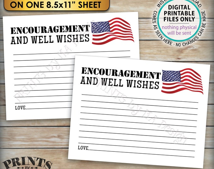 "Military Encouragement and Well Wishes Card, Boot Camp Send Off, American Flag, Four 4.25x5.5"" Cards on a PRINTABLE 8.5x11"" Sheet <ID>"