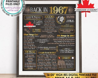 """CANADIAN 1967 Flashback to 1967 History Back in 1967, Birthday Anniversary Reunion Retirement, Chalkboard Style PRINTABLE 16x20"""" Sign <ID>"""