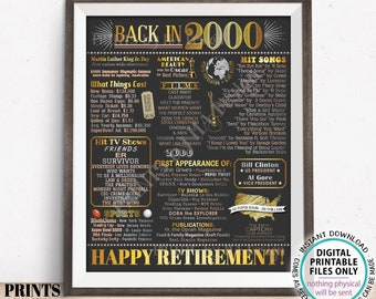 "Retirement Party Decoration, Flashback to 2000 Retiree Poster Board, PRINTABLE 16x20"" Back in the Year 2000 Sign <ID>"