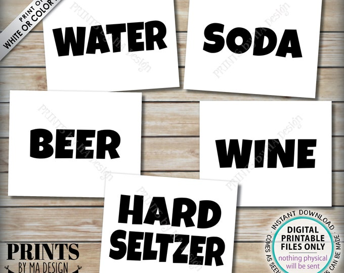 """Beverage Signs, Drink Station Bundle Package, Soda, Water, Beer, Wine, Hard Seltzer, Includes Five PRINTABLE 8x10/16x20"""" B&W Signs <ID>"""