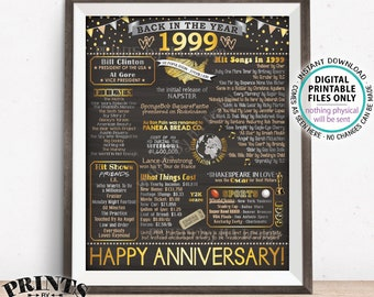 "1999 Poster Board, Back in 1999 Anniversary Gift, Flashback to 1999 Party Decoration, PRINTABLE 16x20"" 1999 Sign <ID>"