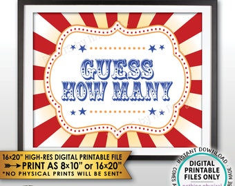 "Guess How Many Sign, Guess the Number Carnival Theme Party Guessing Carnival Games, Circus Themed PRINTABLE 8x10/16x20"" Carnival Sign <ID>"