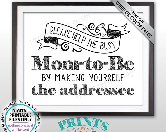 """Baby Shower Address Envelope Sign, Help the Busy Mom-to-Be by Addressing a Thank You Card Envelope, PRINTABLE 8.5x11"""" Baby Shower Sign <ID>"""