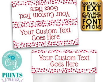 """Valentine's Day Goodie Bag Labels, Happy Hearts Day Party Favors, PRINTABLE 5x7"""" Cards for Plastic Treat Bags <Edit Yourself with Corjl>"""