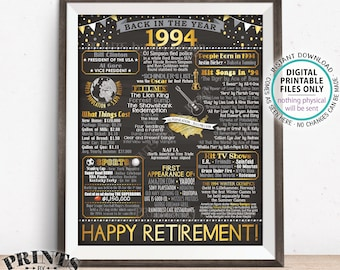"Back in 1994 Poster Board Retirement Party Decorations, Flashback to 1994 Retirement Party, PRINTABLE 16x20"" '94 Sign <ID>"