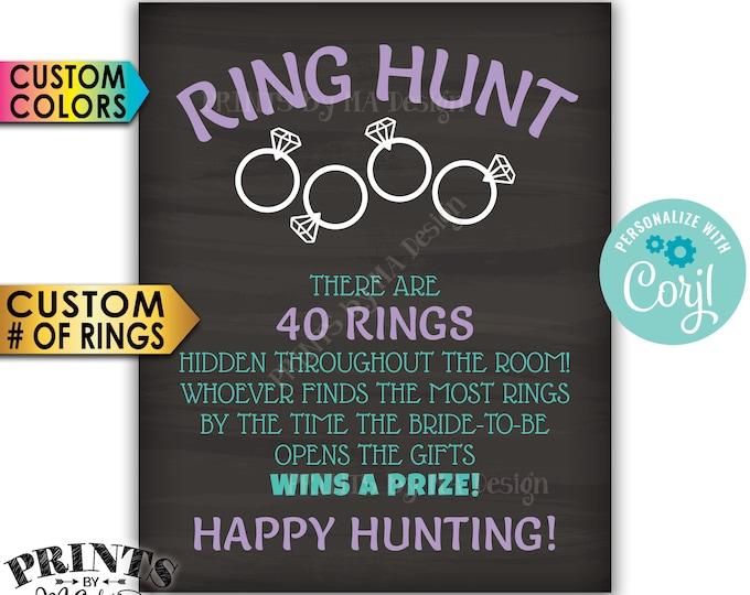 "Bridal Shower Ring Hunt Game Sign, Wedding Shower Scavenger Hunt, PRINTABLE 8x10/16x20"" Chalkboard Style Sign <Edit Yourself with Corjl>"