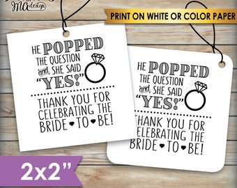 """Bridal Shower Tags, Bridal Shower Favors, Bridal Shower Thank You Favors, Wedding Shower, Square 2"""" tags on 8.5x11"""" PRINTABLE Sheet <ID>"""