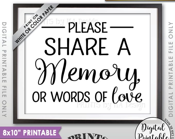 "Share a Memory Sign, Share Memories, Please Write a Memory, Graduation, Birthday, Anniversary, Funeral, 8x10"" Printable Instant Download"