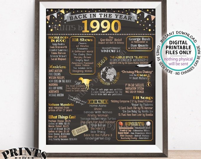 "Back in 1990 Poster Board, Flashback to 1990, Remember 1990, USA History from 1990, PRINTABLE 16x20"" Sign <ID>"