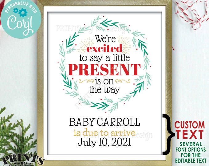 "Christmas Pregnancy Announcement, Little Present on the Way, PRINTABLE 8x10/16x20"" Baby Reveal Sign, Xmas Wreath <Edit Yourself with Corjl>"