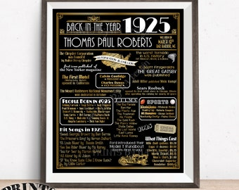 "Back in 1925 Birthday Poster Board, Flashback to 1925 Sign, Custom PRINTABLE 16x20"" Art Deco Style Birthday Party Decoration"