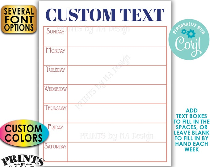 """Weekly Agenda Sign, Nightly Dinner Menu, Meal Planner, Custom PRINTABLE 8x10/16x20"""" Sign to Plan Your Week <Edit Yourself with Corjl>"""