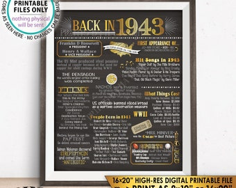 """1943 Flashback Poster, Flashback to 1943 USA History Back in 1943 Birthday, Anniversary Party, PRINTABLE 16x20"""" Sign <ID>"""