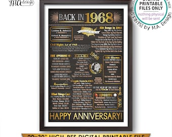 "Flashback to 1968 50th Anniversary Gift, 50 Years Ago Back in 1968 Flashback, Married in 1968, PRINTABLE 20x30"" Chalkboard Style Sign <ID>"