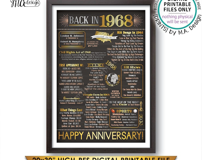 "1968 Anniversary Poster, Back in 1968 Anniversary Gift, Flashback to 1968 Party Decoration, PRINTABLE 20x30"" Sign <ID>"