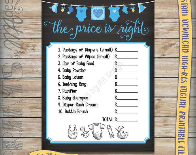 "Price is Right Baby Shower Game, Guess the Prices Activity, Price Game, Blue Shower, Boy, PRINTABLE 5x7"" Chalkboard Style Instant Download"