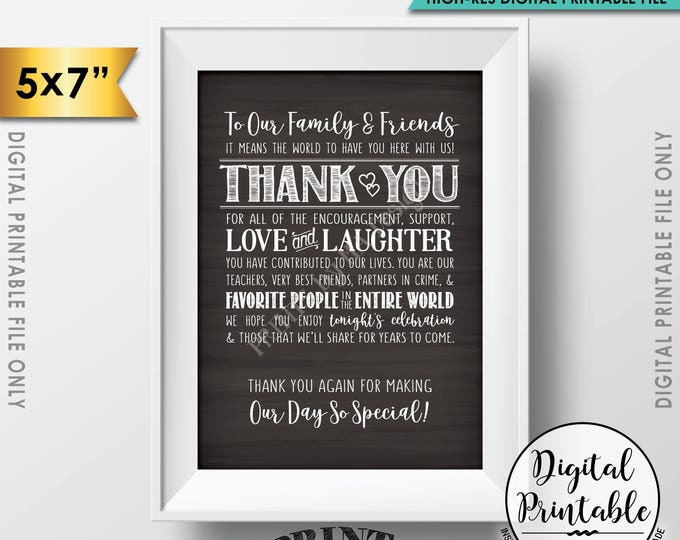 "Wedding Thank You Sign, Wedding Family and Friends, Thank You for Making Our Day so Special 5x7"" Chalkboard Style Printable Instant Download"