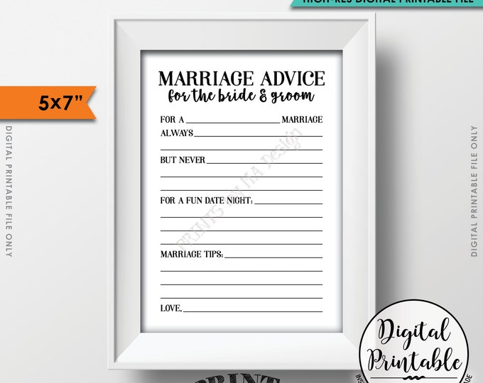 """Marriage Advice Cards, Bride & Groom Advice, Wedding Advice, Marriage Tips, Bridal Shower Activity, Instant Download 5x7"""" Printable File"""