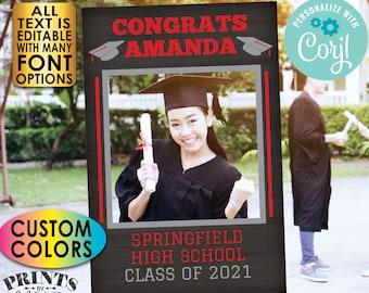 "Graduation Photo Frame, High School Graduation Party Selfie Station, Custom PRINTABLE Chalkboard Style 24x36"" File <Edit Yourself w/Corjl>"