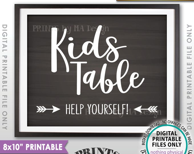 """Wedding Kids Table Sign, Reception Activities for Kids Table Sign, Chalkboard Style PRINTABLE 8x10"""" Instant Download Wedding Sign"""